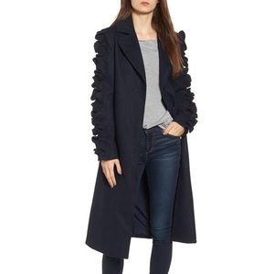 NWOT Anthro Fifth Label Ruffled Sleeves Coat, XS